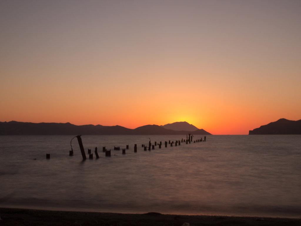 Sunset in Milos, Greece.